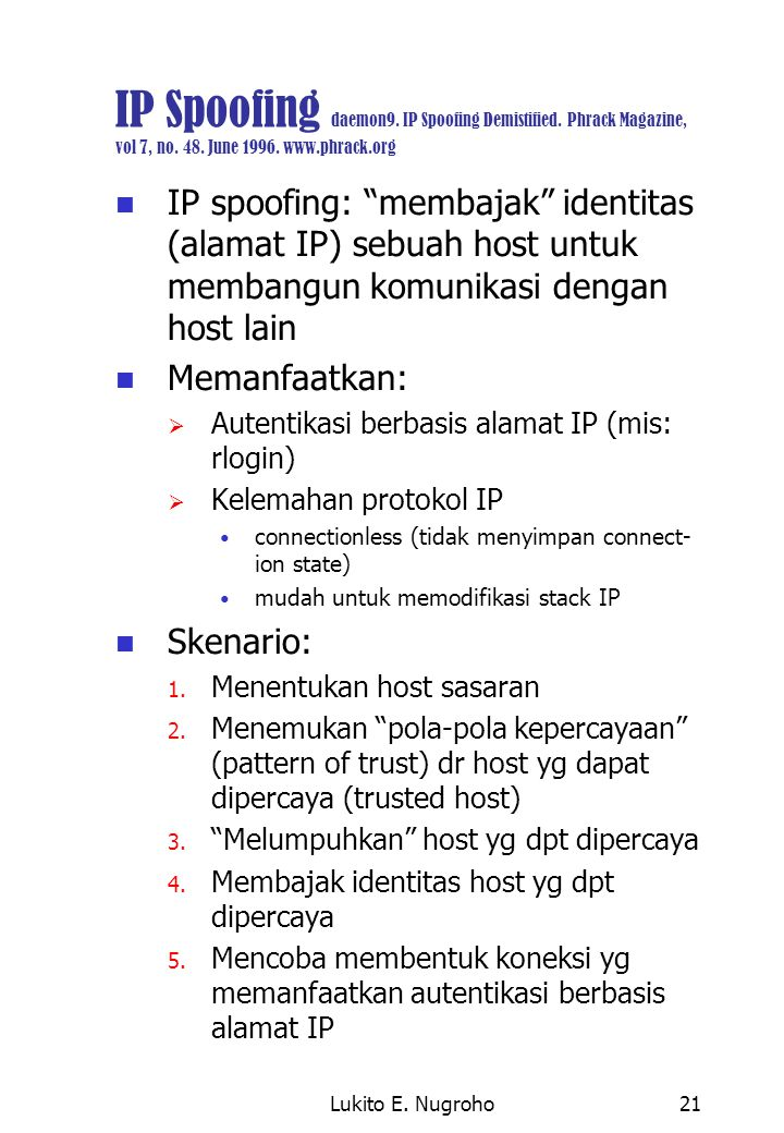 IP Spoofing daemon9. IP Spoofing Demistified