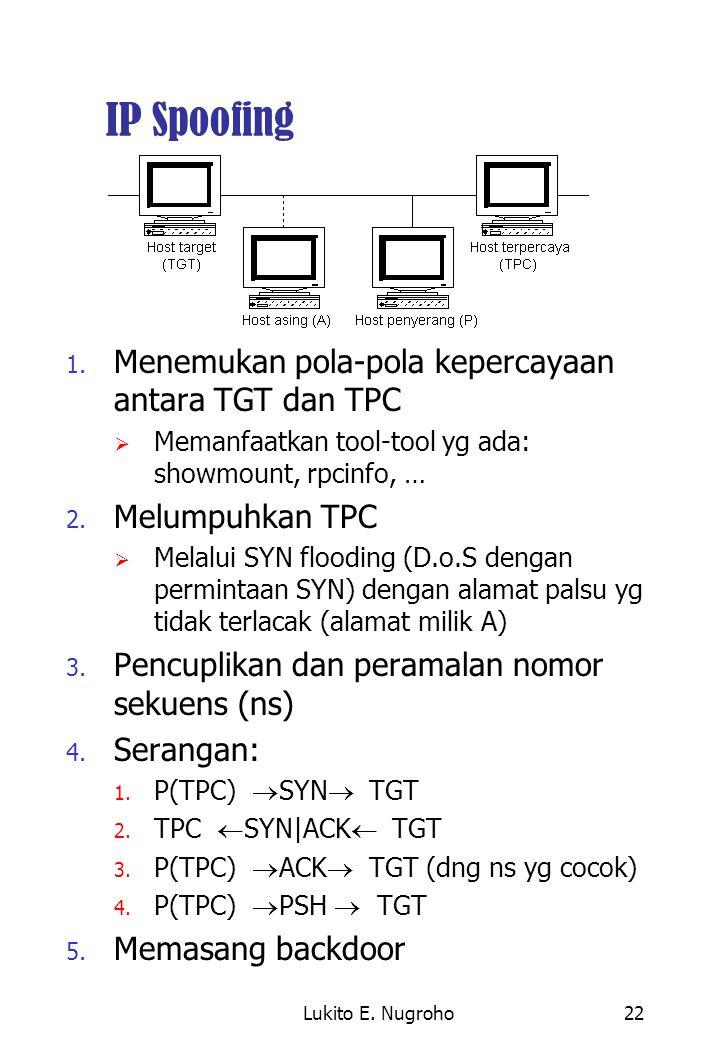 IP Spoofing Menemukan pola-pola kepercayaan antara TGT dan TPC