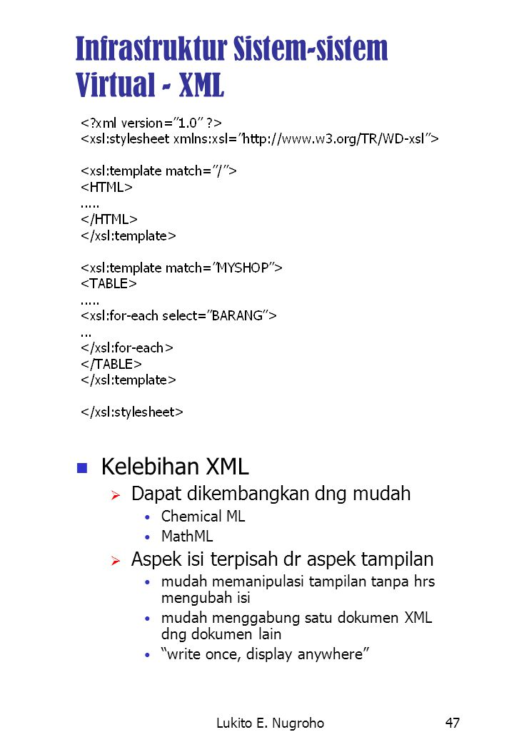 Infrastruktur Sistem-sistem Virtual - XML