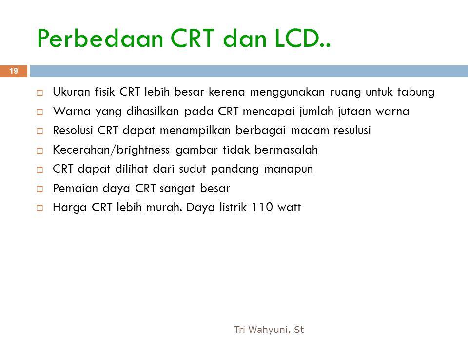 Perbedaan CRT dan LCD.. Ukuran fisik CRT lebih besar kerena menggunakan ruang untuk tabung.