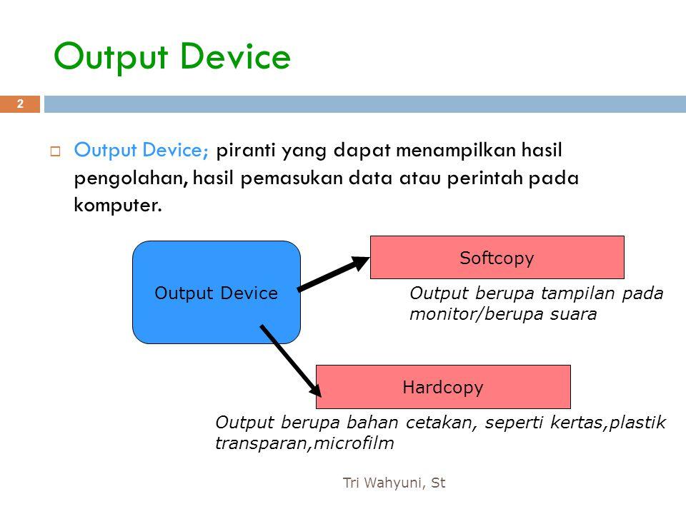 Output Device Output Device; piranti yang dapat menampilkan hasil pengolahan, hasil pemasukan data atau perintah pada komputer.