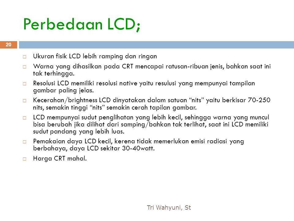 Perbedaan LCD; Ukuran fisik LCD lebih ramping dan ringan