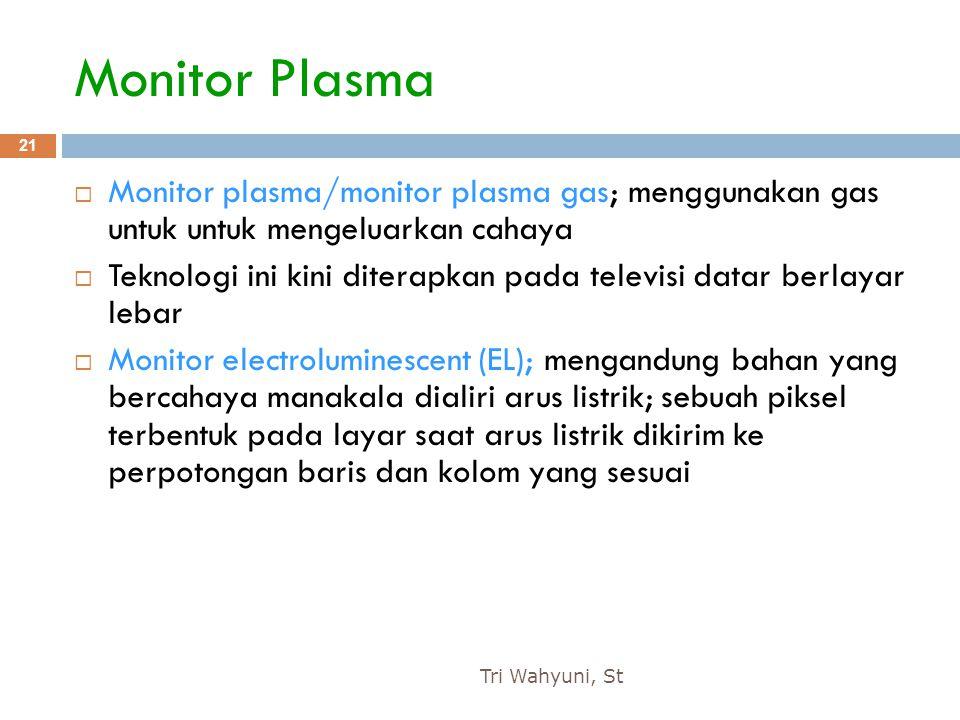 Monitor Plasma Monitor plasma/monitor plasma gas; menggunakan gas untuk untuk mengeluarkan cahaya.