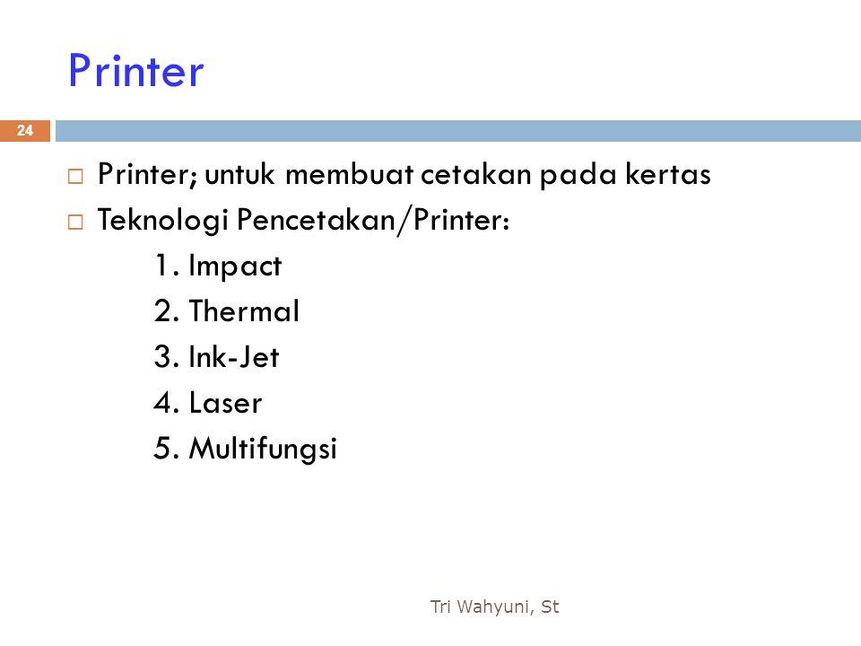 Printer Printer; untuk membuat cetakan pada kertas