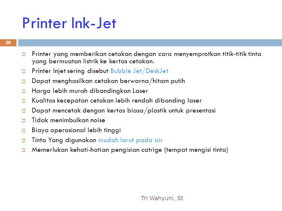 Printer Ink-Jet Printer yang memberikan cetakan dengan cara menyemprotkan titik-titik tinta yang bermuatan listrik ke kertas cetakan.
