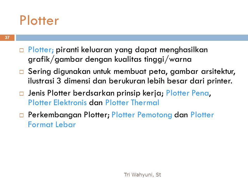 Plotter Plotter; piranti keluaran yang dapat menghasilkan grafik/gambar dengan kualitas tinggi/warna.