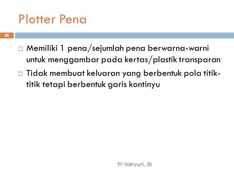 Plotter Pena Memiliki 1 pena/sejumlah pena berwarna-warni untuk menggambar pada kertas/plastik transparan.