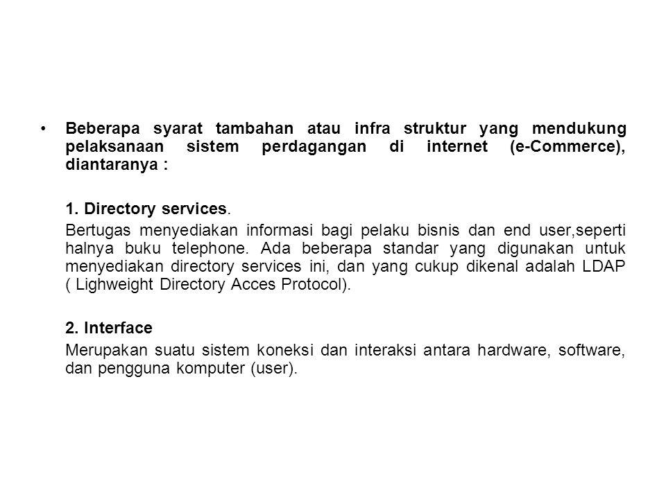 Beberapa syarat tambahan atau infra struktur yang mendukung pelaksanaan sistem perdagangan di internet (e-Commerce), diantaranya :