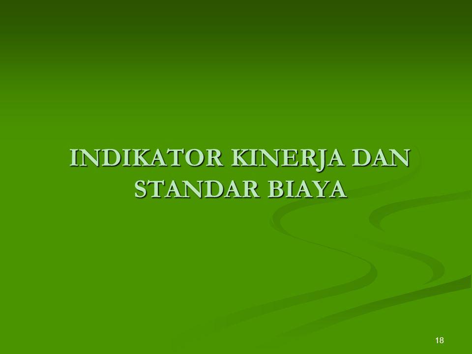 INDIKATOR KINERJA DAN STANDAR BIAYA