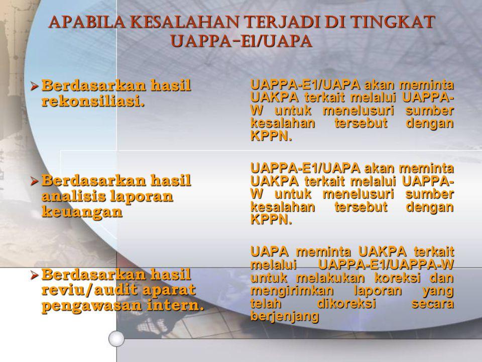 Apabila kesalahan terjadi di tingkat UAPPA-E1/UAPA