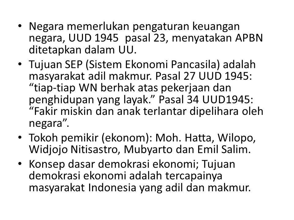 Negara memerlukan pengaturan keuangan negara, UUD 1945 pasal 23, menyatakan APBN ditetapkan dalam UU.