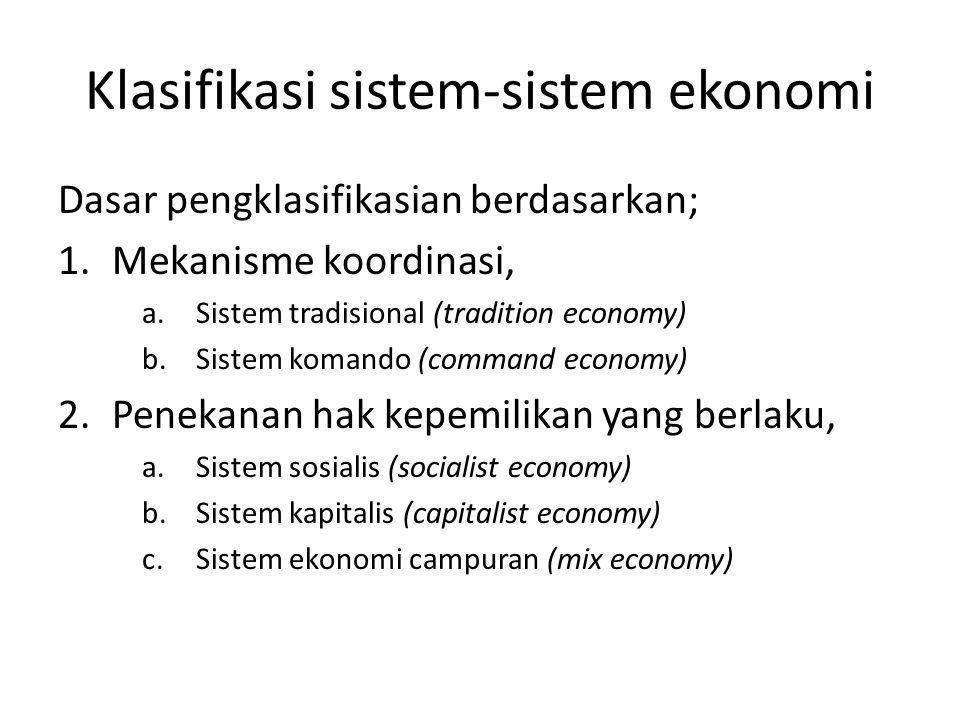 Klasifikasi sistem-sistem ekonomi