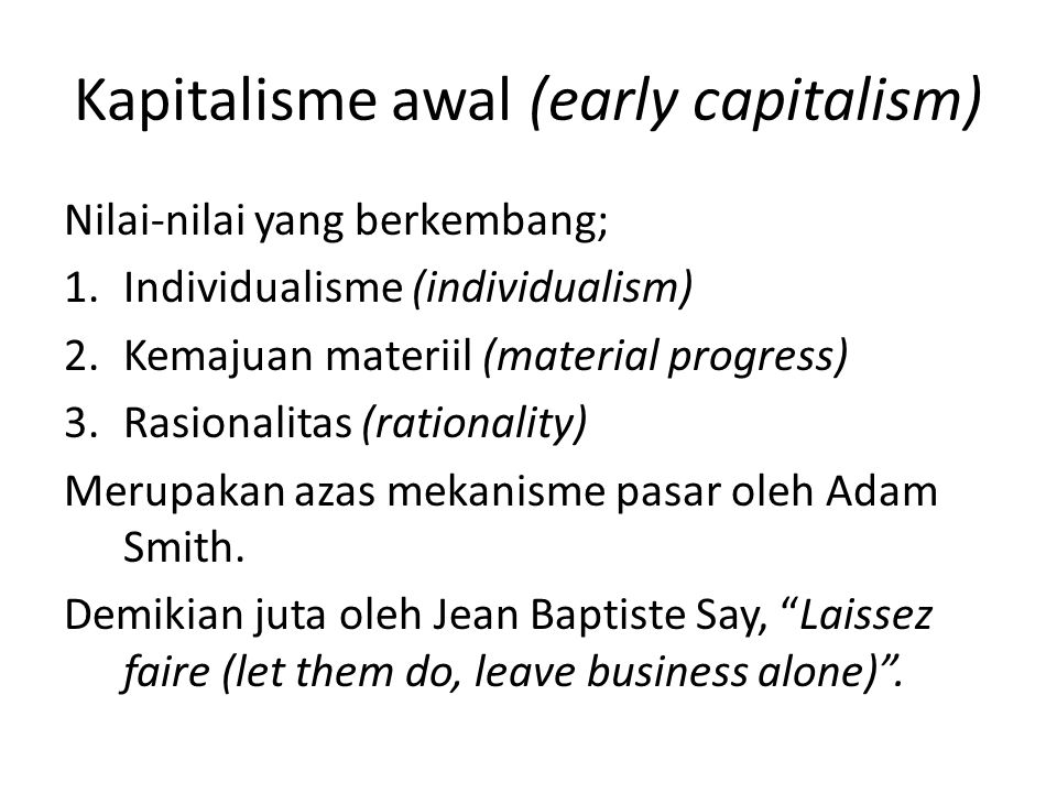 Kapitalisme awal (early capitalism)