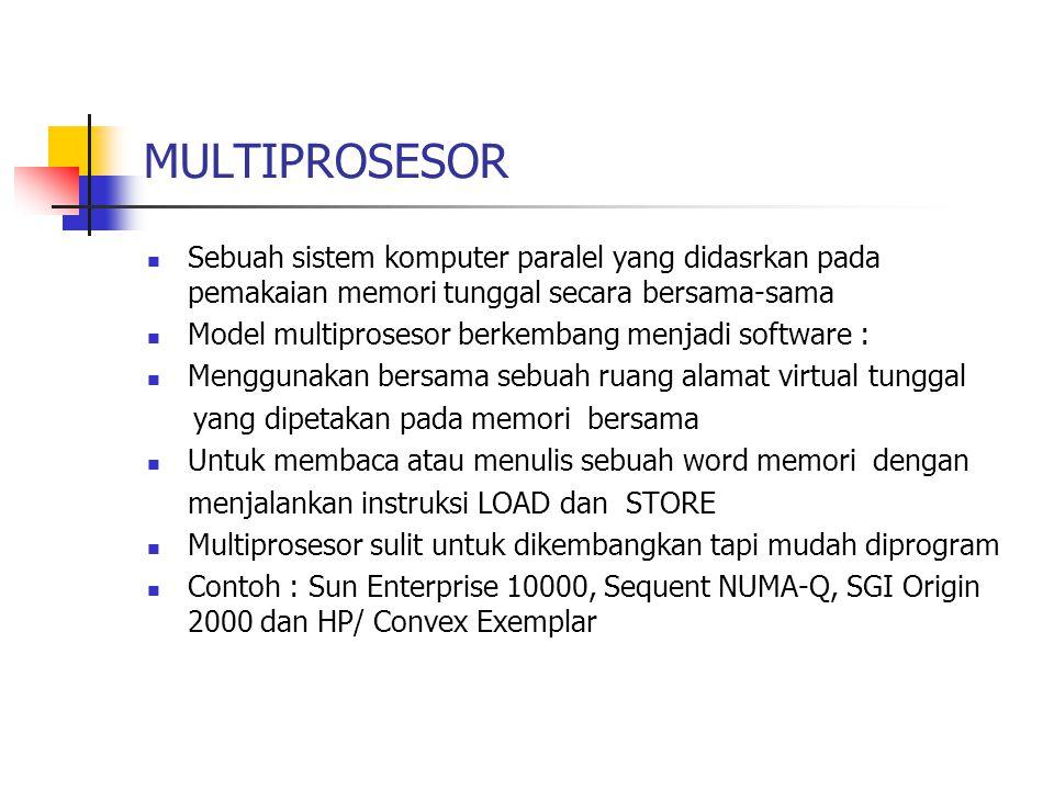 MULTIPROSESOR Sebuah sistem komputer paralel yang didasrkan pada pemakaian memori tunggal secara bersama-sama.