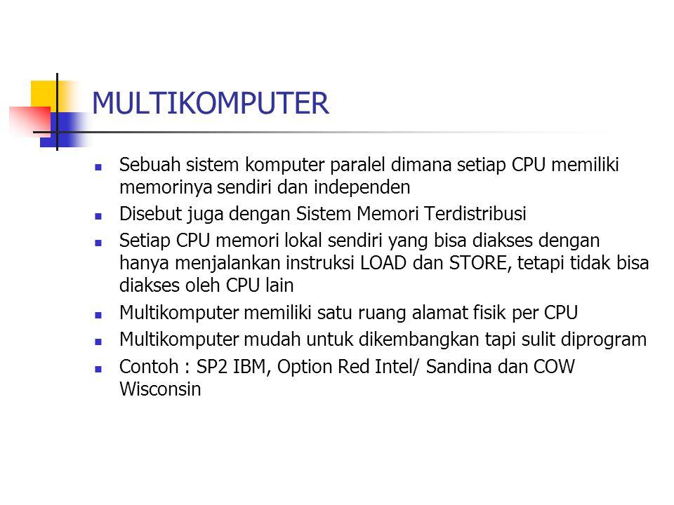 MULTIKOMPUTER Sebuah sistem komputer paralel dimana setiap CPU memiliki memorinya sendiri dan independen.