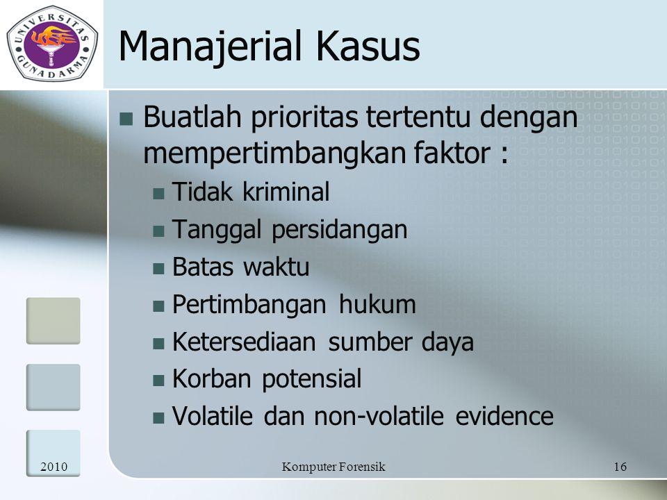 Manajerial Kasus Buatlah prioritas tertentu dengan mempertimbangkan faktor : Tidak kriminal. Tanggal persidangan.