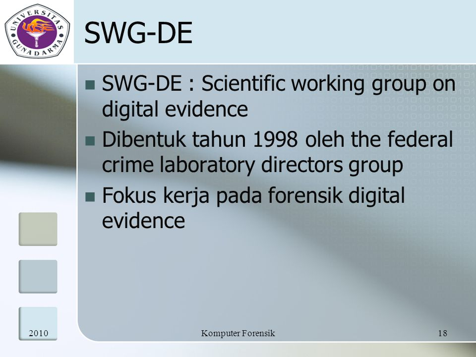 SWG-DE SWG-DE : Scientific working group on digital evidence