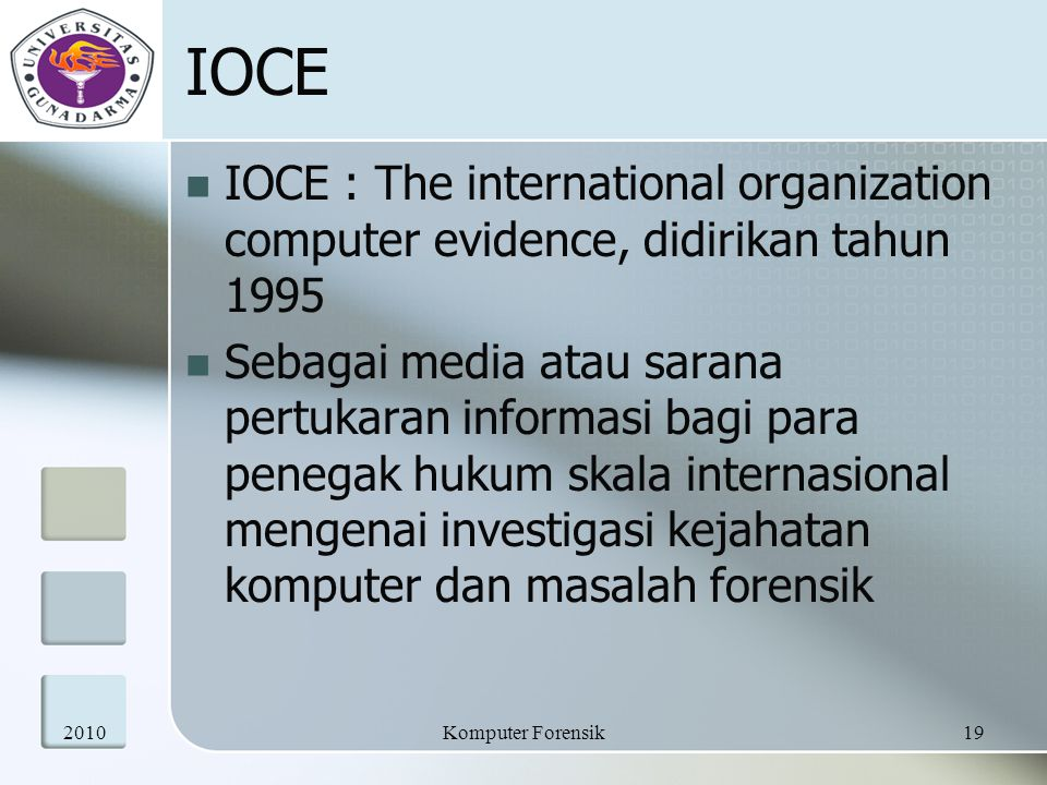 IOCE IOCE : The international organization computer evidence, didirikan tahun 1995.