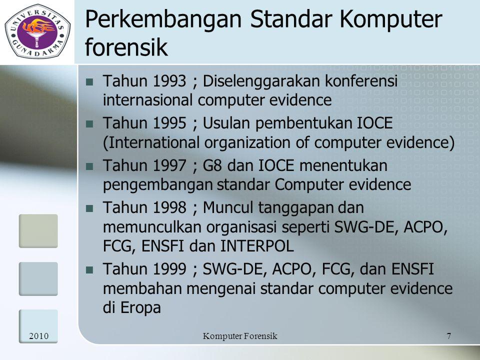 Perkembangan Standar Komputer forensik