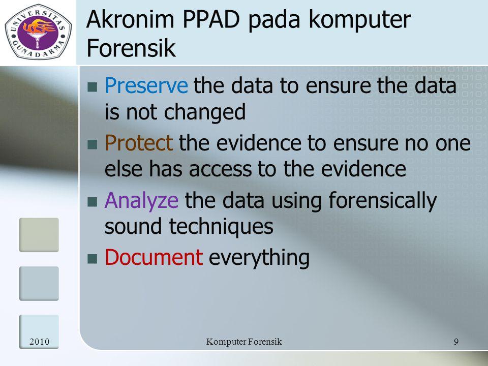 Akronim PPAD pada komputer Forensik