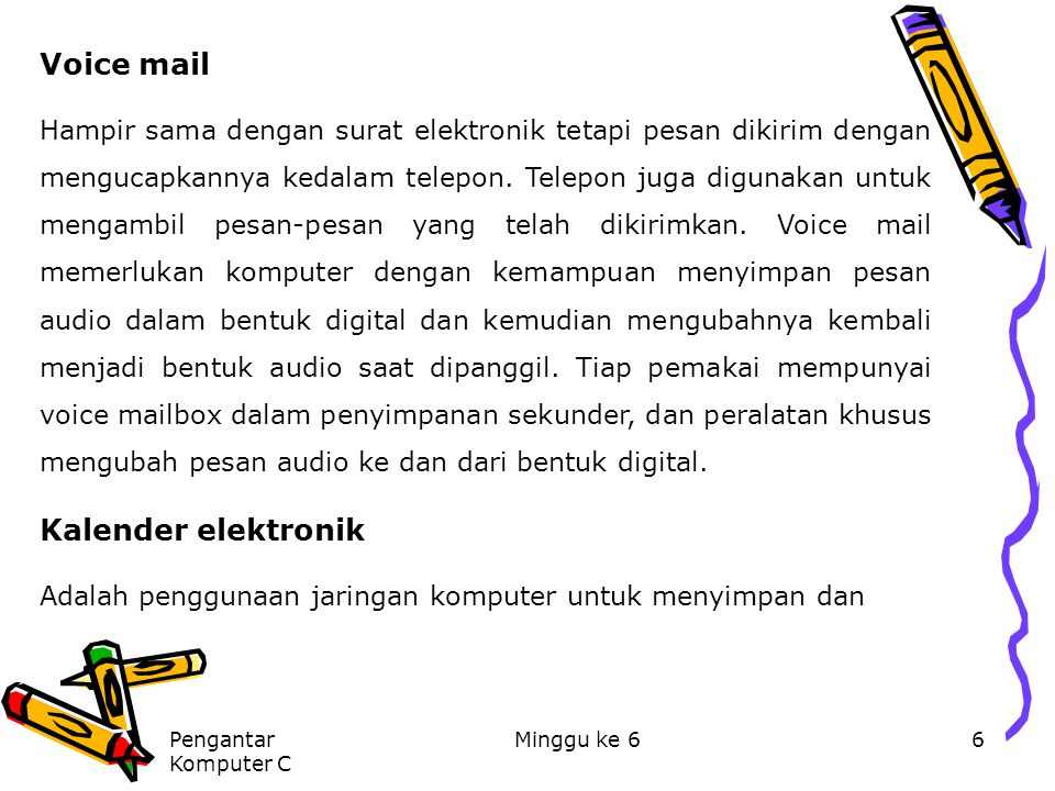 Voice mail Kalender elektronik