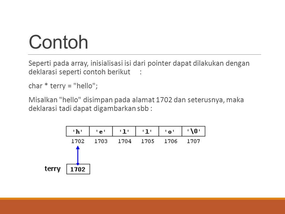 Contoh Seperti pada array, inisialisasi isi dari pointer dapat dilakukan dengan deklarasi seperti contoh berikut :