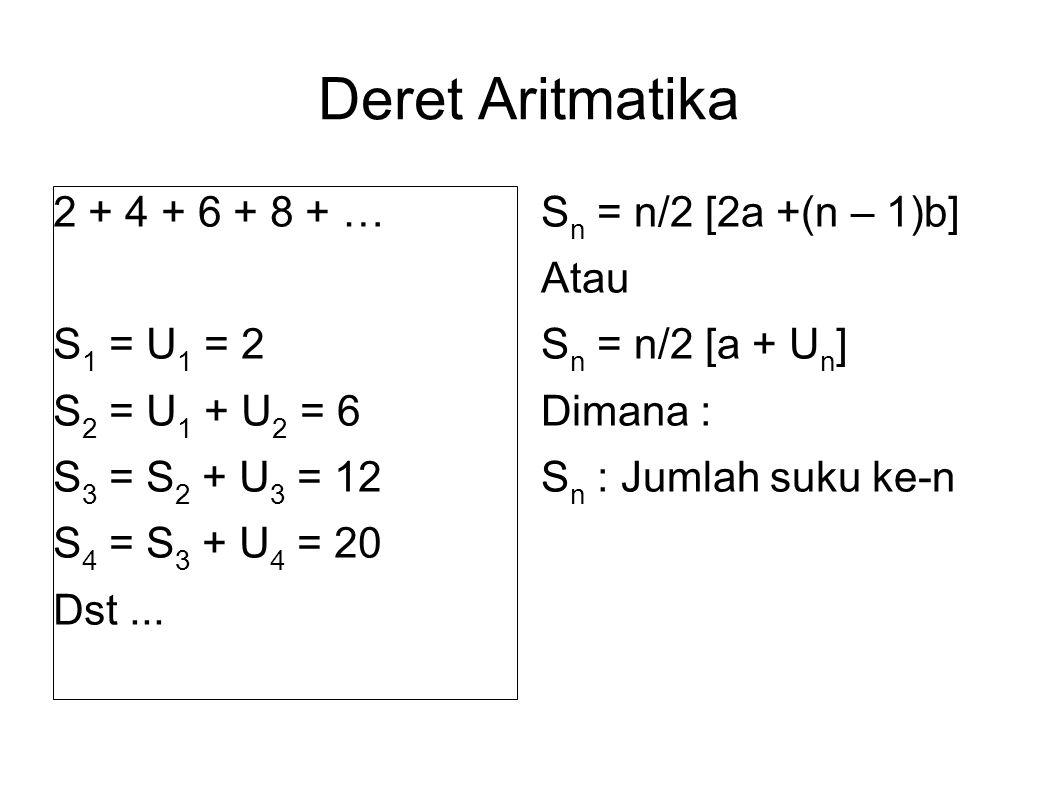 Deret Aritmatika 2 + 4 + 6 + 8 + … S1 = U1 = 2 S2 = U1 + U2 = 6