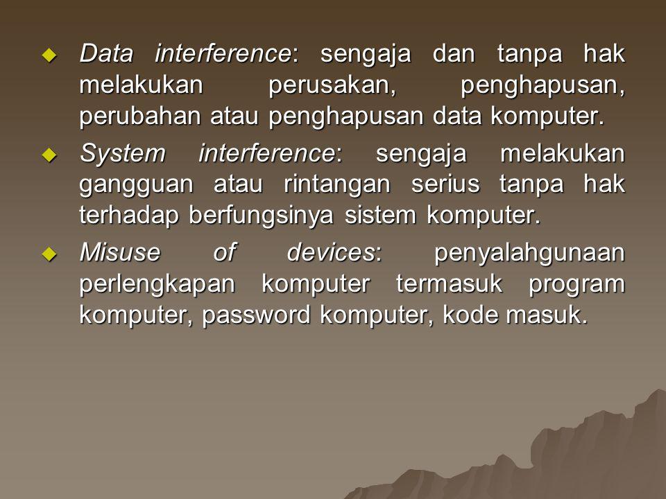 Data interference: sengaja dan tanpa hak melakukan perusakan, penghapusan, perubahan atau penghapusan data komputer.