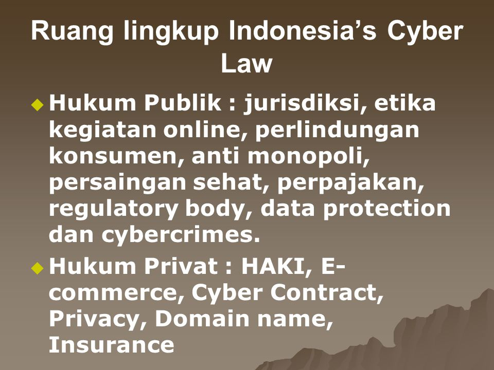 Ruang lingkup Indonesia's Cyber Law