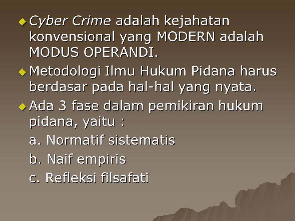 Cyber Crime adalah kejahatan konvensional yang MODERN adalah MODUS OPERANDI.
