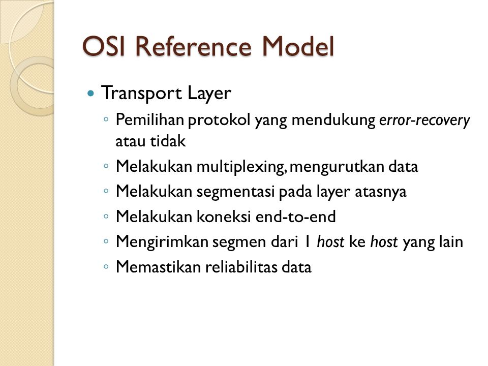 OSI Reference Model Transport Layer