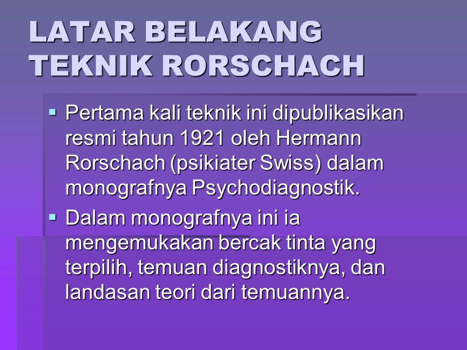 LATAR BELAKANG TEKNIK RORSCHACH