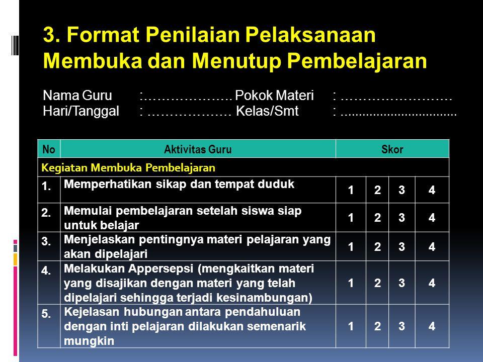 3. Format Penilaian Pelaksanaan Membuka dan Menutup Pembelajaran