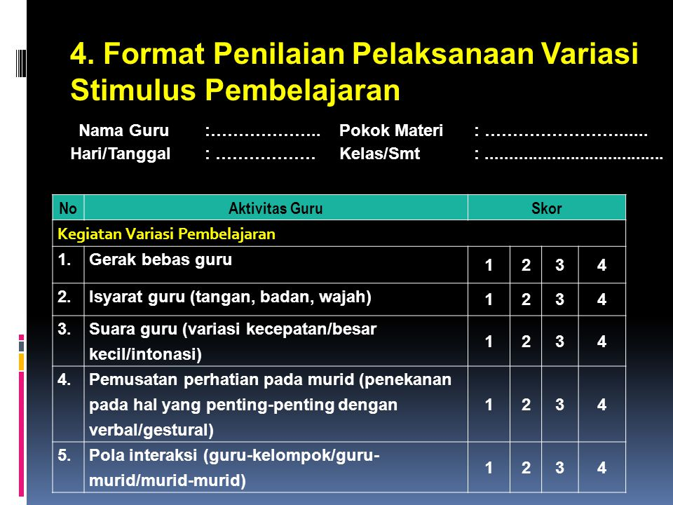 4. Format Penilaian Pelaksanaan Variasi Stimulus Pembelajaran