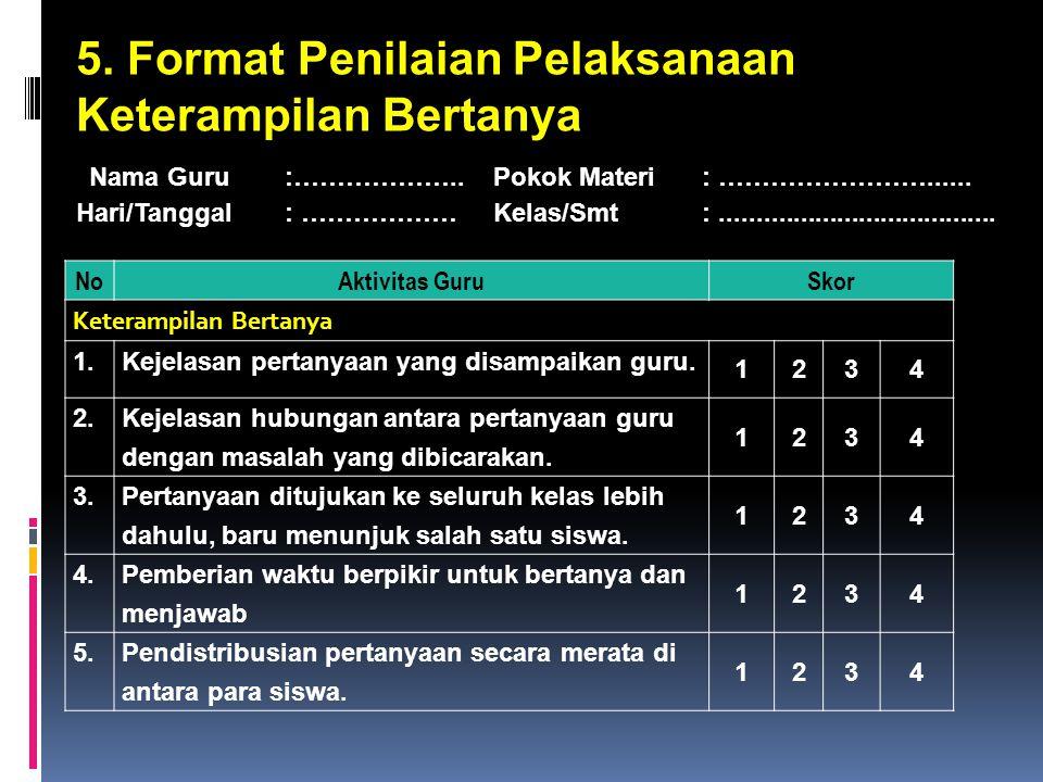 5. Format Penilaian Pelaksanaan Keterampilan Bertanya