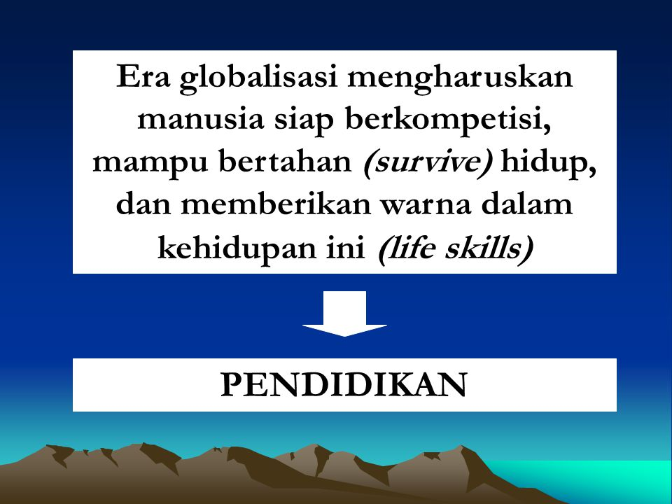 Era globalisasi mengharuskan manusia siap berkompetisi, mampu bertahan (survive) hidup, dan memberikan warna dalam kehidupan ini (life skills)