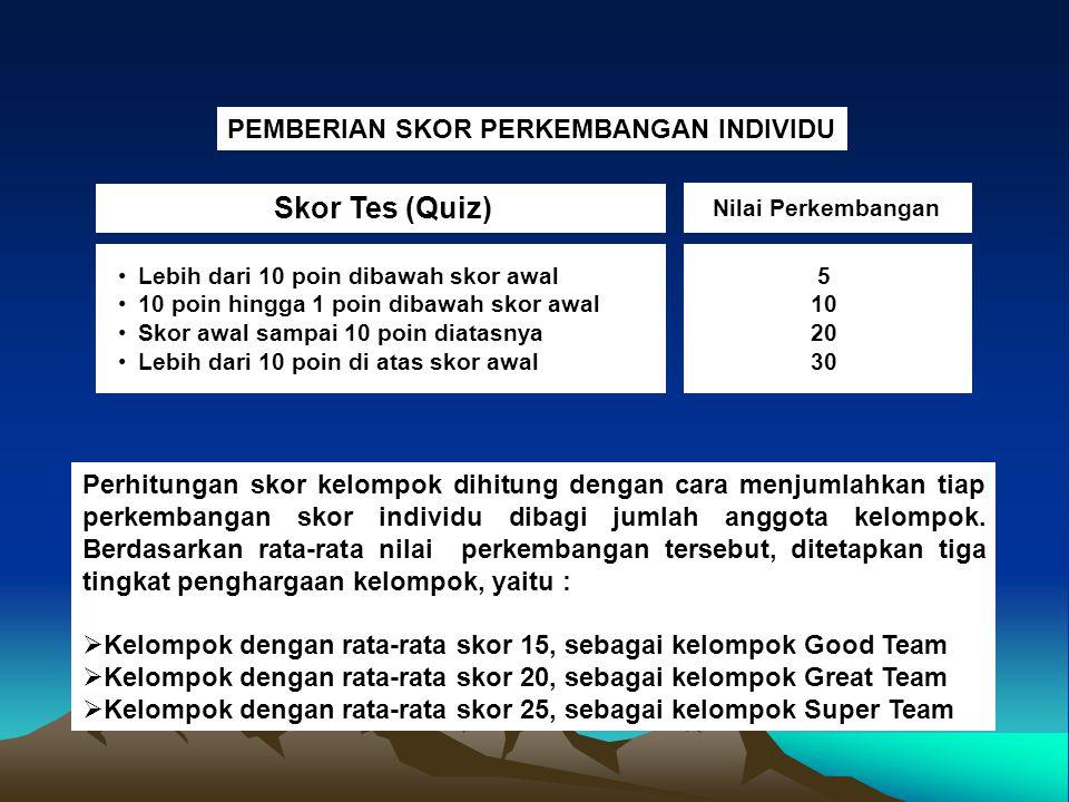 Skor Tes (Quiz) PEMBERIAN SKOR PERKEMBANGAN INDIVIDU