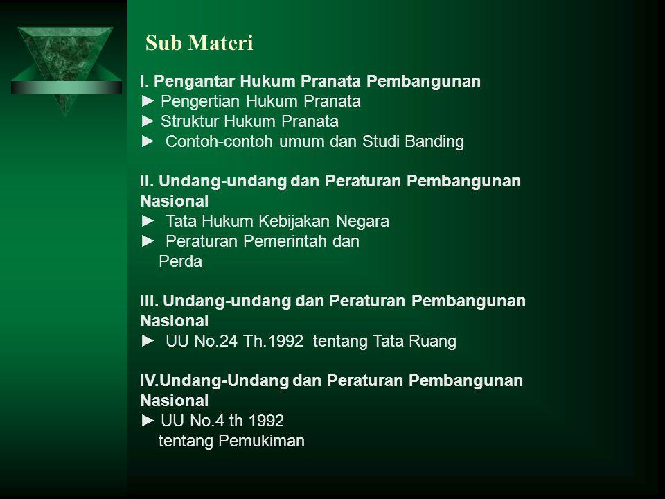 Sub Materi I. Pengantar Hukum Pranata Pembangunan