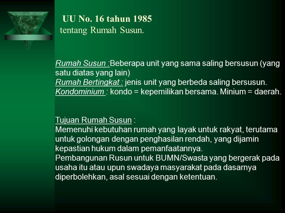 UU No. 16 tahun 1985 tentang Rumah Susun.
