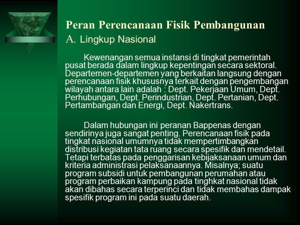 Peran Perencanaan Fisik Pembangunan A. Lingkup Nasional