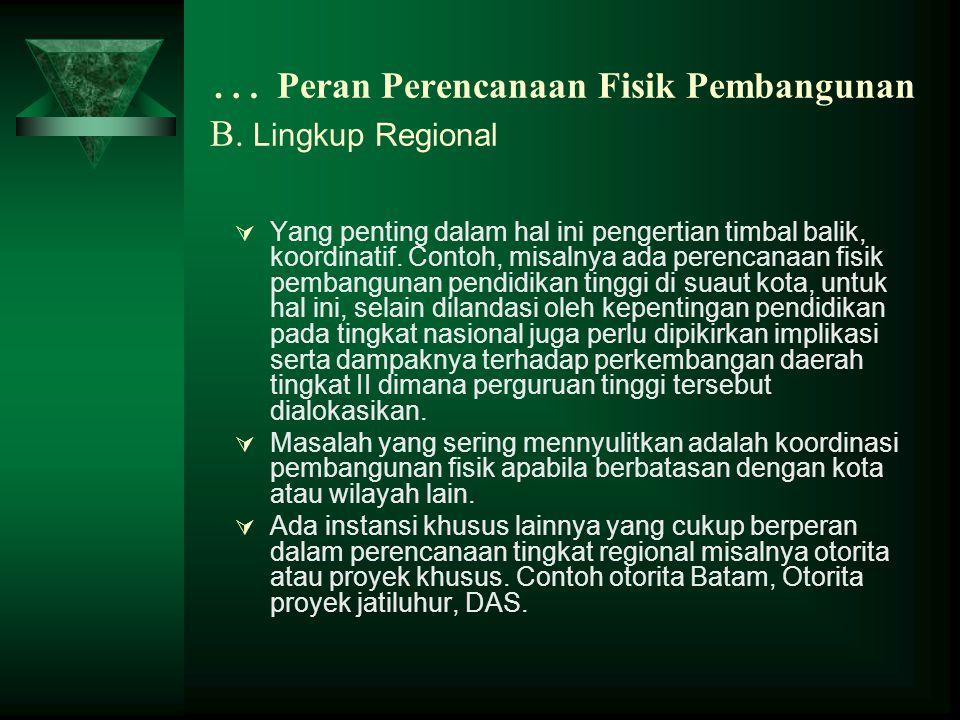 … Peran Perencanaan Fisik Pembangunan B. Lingkup Regional