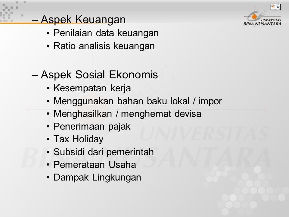 Aspek Keuangan Aspek Sosial Ekonomis Penilaian data keuangan