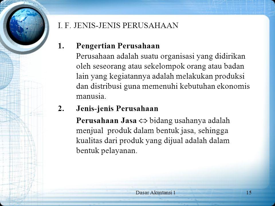 I. F. JENIS-JENIS PERUSAHAAN