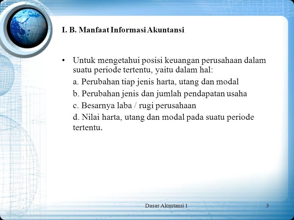 I. B. Manfaat Informasi Akuntansi