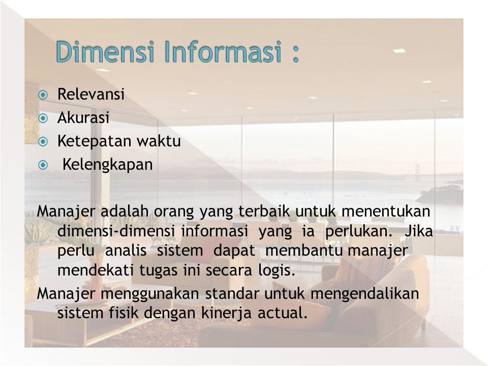 Dimensi Informasi : Relevansi Akurasi Ketepatan waktu Kelengkapan