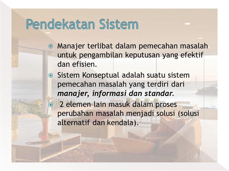 Pendekatan Sistem Manajer terlibat dalam pemecahan masalah untuk pengambilan keputusan yang efektif dan efisien.