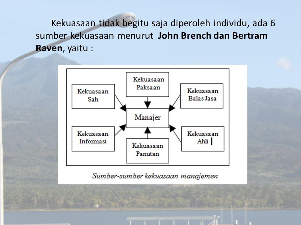 Kekuasaan tidak begitu saja diperoleh individu, ada 6 sumber kekuasaan menurut John Brench dan Bertram Raven, yaitu :
