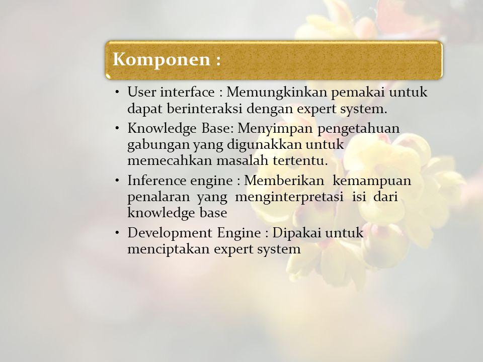 Komponen : User interface : Memungkinkan pemakai untuk dapat berinteraksi dengan expert system.