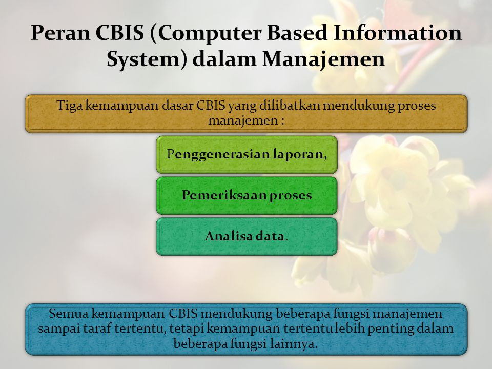 Peran CBIS (Computer Based Information System) dalam Manajemen