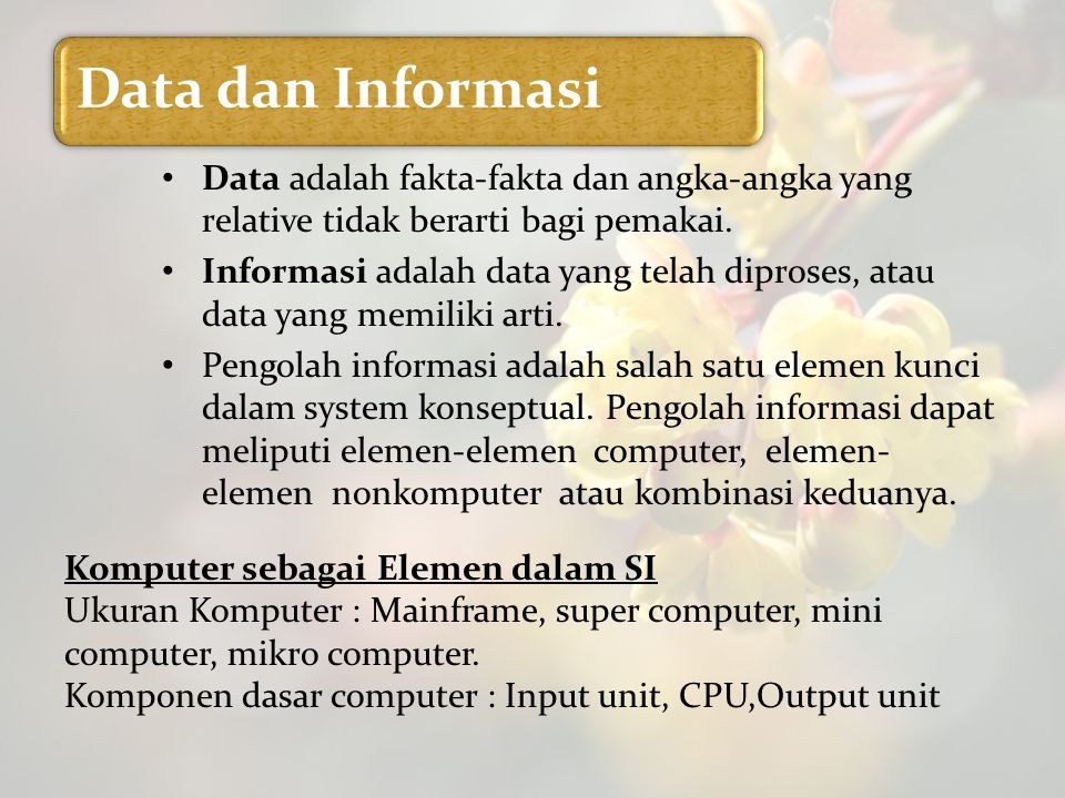 Komputer sebagai Elemen dalam SI